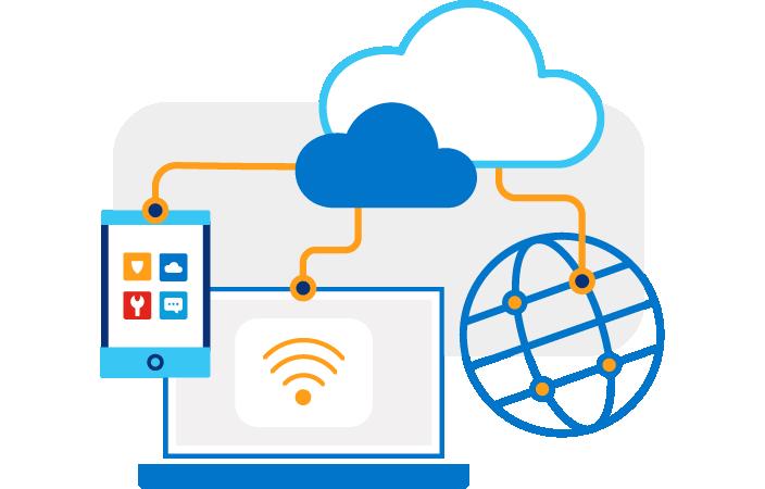 Nubes animadas conectadas a una tableta, una computadora y un globo terráqueo