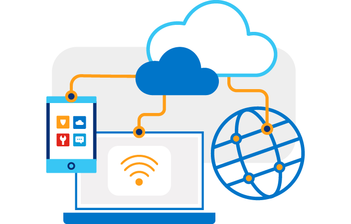 Illustration of a laptop, tablet & globe connected by orange lines up to two cloud icons