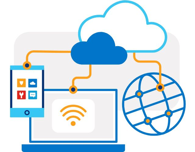 Illustration of a laptop, tablet and globe connected by orange lines up to two cloud icons