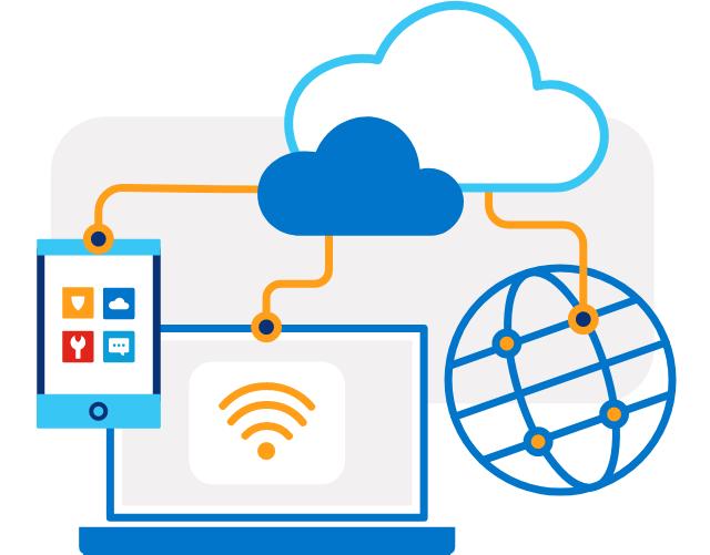Ilustración de una computadora portátil, una tableta y un globo terráqueo conectados por líneas anaranjadas a dos iconos de nube