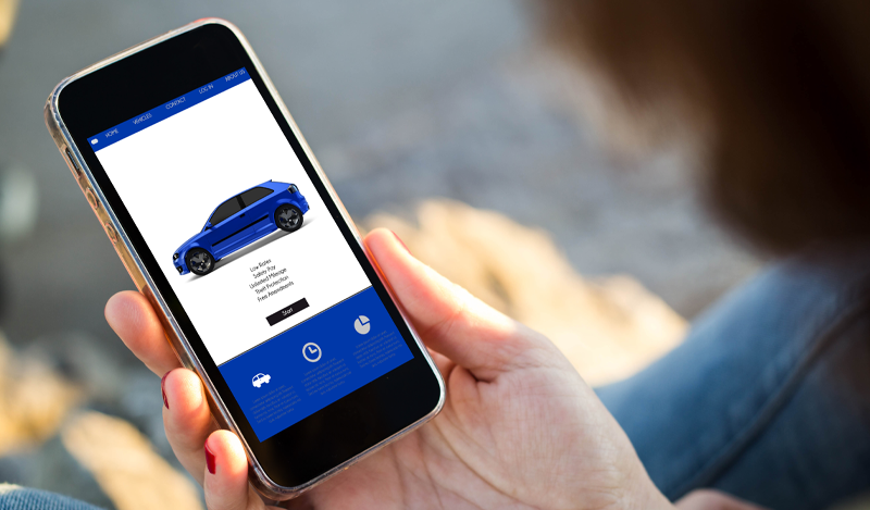 Shopping for a rental car on a smartphone.