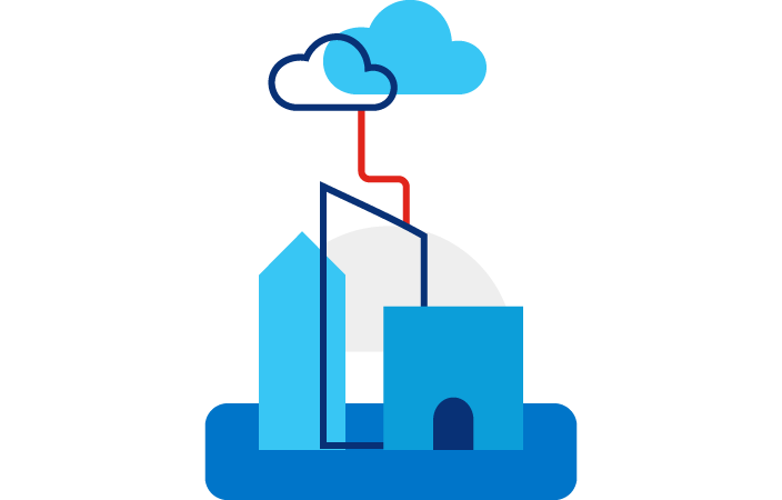 Illustration rendering of a city wih a line connecting to two cloud icons