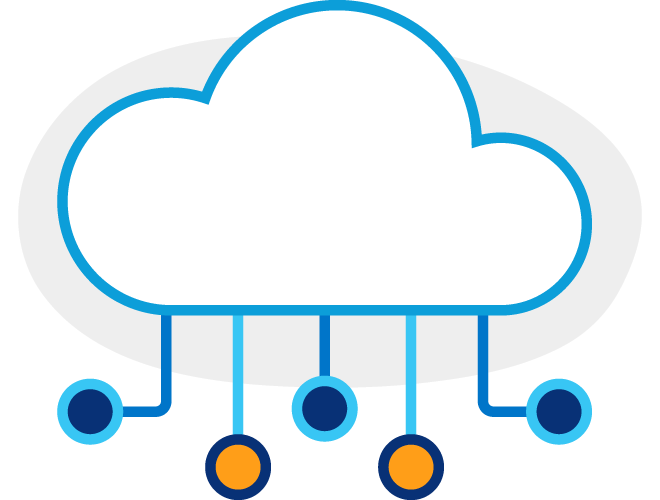 Illustration of a cloud icon with dark and light blue lines coming out of the bottom