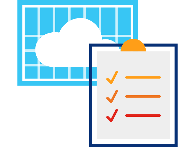 Illustration of a clipboard in front of a cloud with a blue background