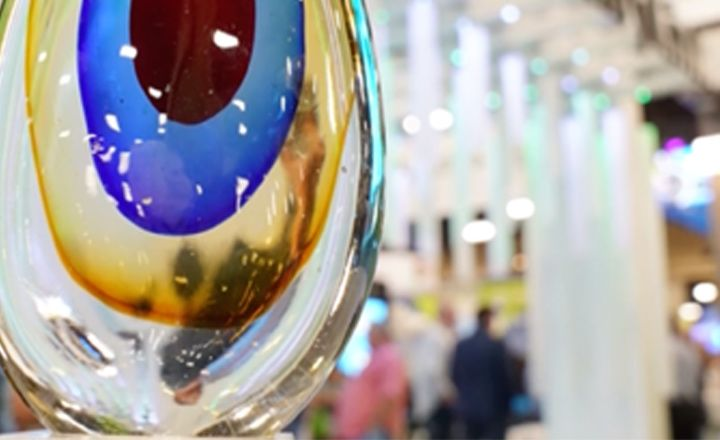 Close up of  a tear drop shapped colorful glass
