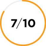 Close up of a mostly yellow shaded circle icon with the number 7/10 in the center