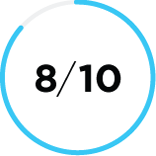 Close up of a mostly blue shaded circle icon with the number 8/10 in the center