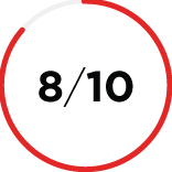 Close up of a mostly red shaded circle icon with the number 8/10 in the center