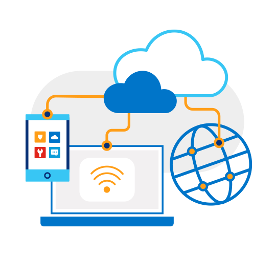 Illustration of laptop, cell phone and globe all interconnected as nodes on network cables from hybrid clouds above.