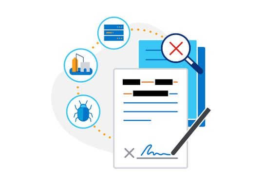 Illustration of pen signing redacted contract with icons for security, offices, magnifying glass and servers in background.