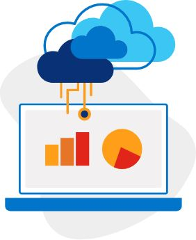 Illustration of laptop displaying bar and circle charts connected virtually to the cloud above.