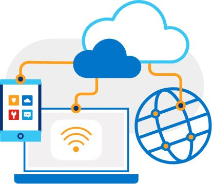 Illustration of open laptop connected by virtual lines to cell phone, cloud and globe with network.