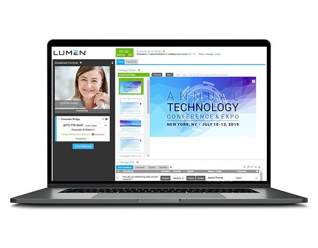 Laptop screen open to a Lumen virtual conference & web cast page
