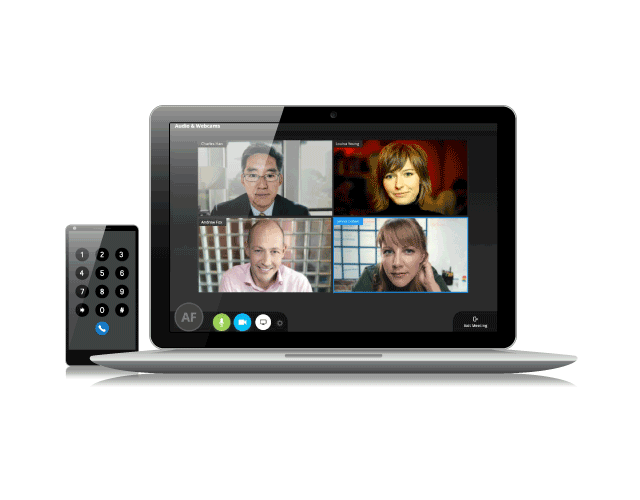 Tablet device open to a video call with four people next to a mobile device