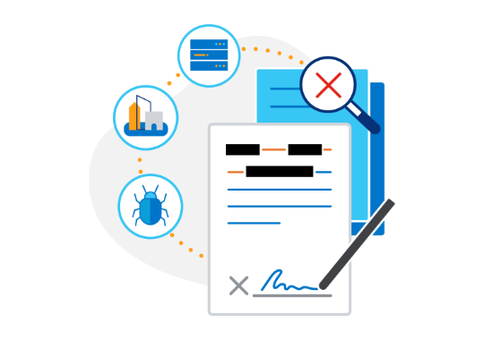 Illustration of contract with pen signing and documents behind surrounded by security, offices and data center icons.
