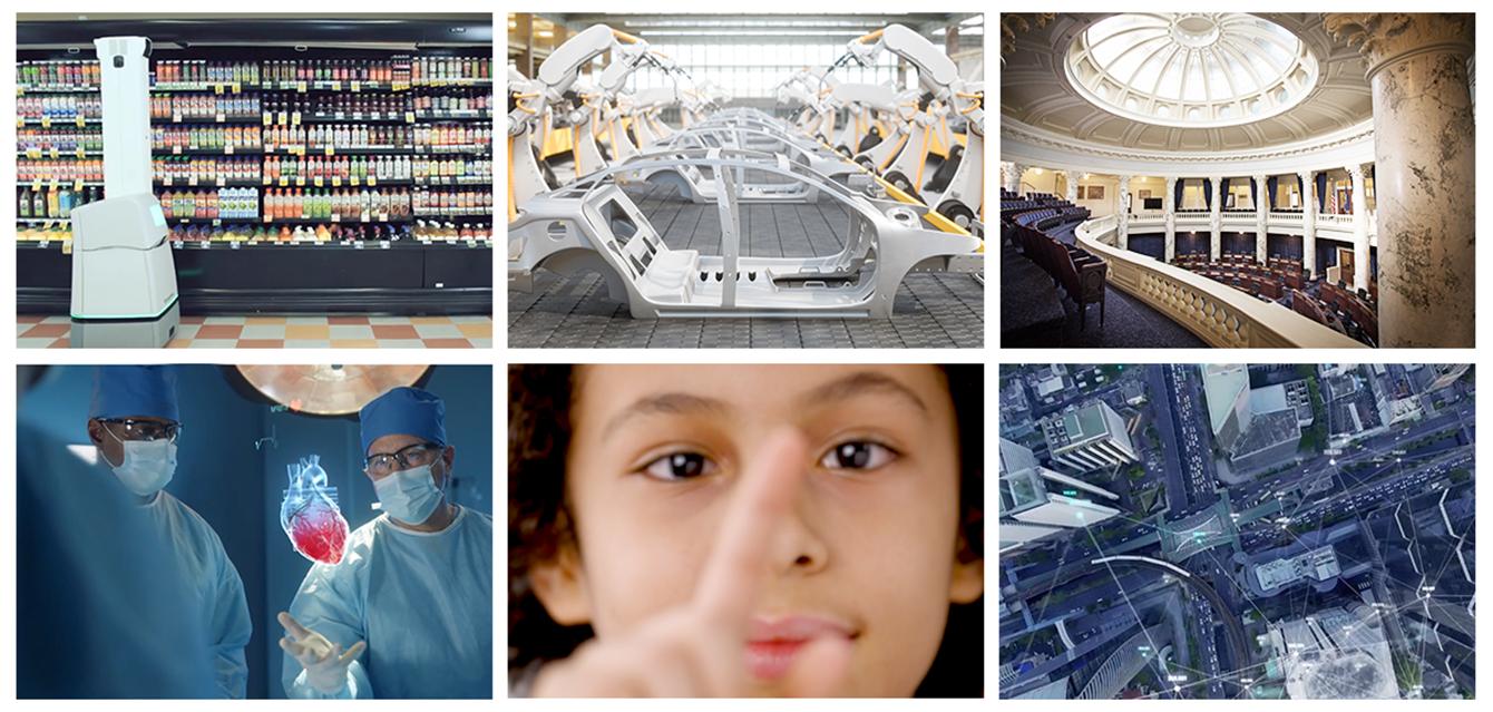 A I、V R、そしてリテール、メーカー、政府機関、医療、教育、スマートシティ向けのデータドリブンの自動化の例。