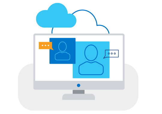 Illustration of video call in the cloud