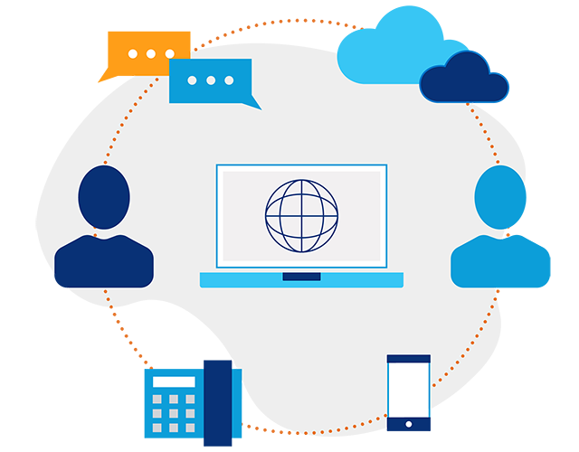 Illustration of a laptop screen with a globe icon on it in the center of 2 people icons, chat icons and cloud icons