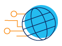 Icon of world globe with network nodes and transmission lines across and extending beyond and outside of the globe.