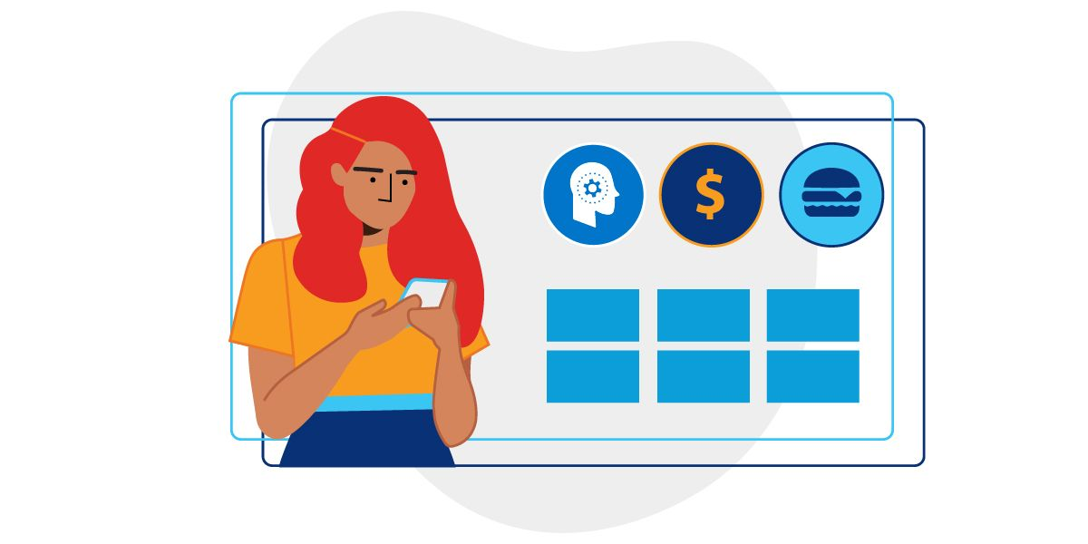 Illustration representing a woman reviewing phone menu app next to icons of a thinking head, money sign, and small sandwich.