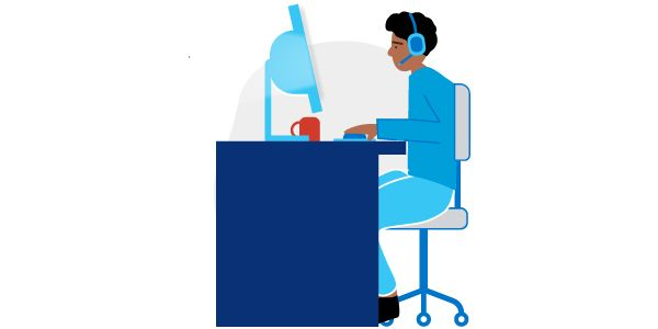 Illustration of man sitting at an office desk with headset on, typing on keyboard and looking intently at a computer monitor.