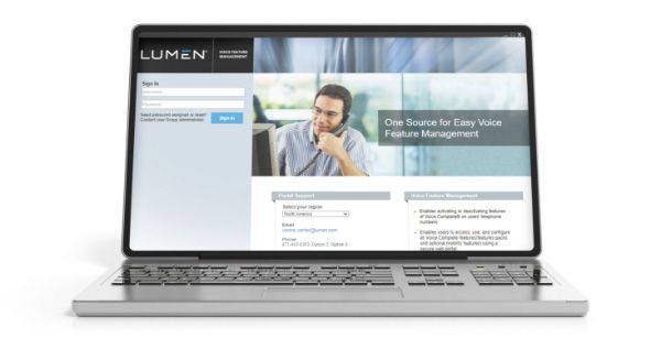Laptop screen open to a Lumen sign in page next to an image of a man on the phone