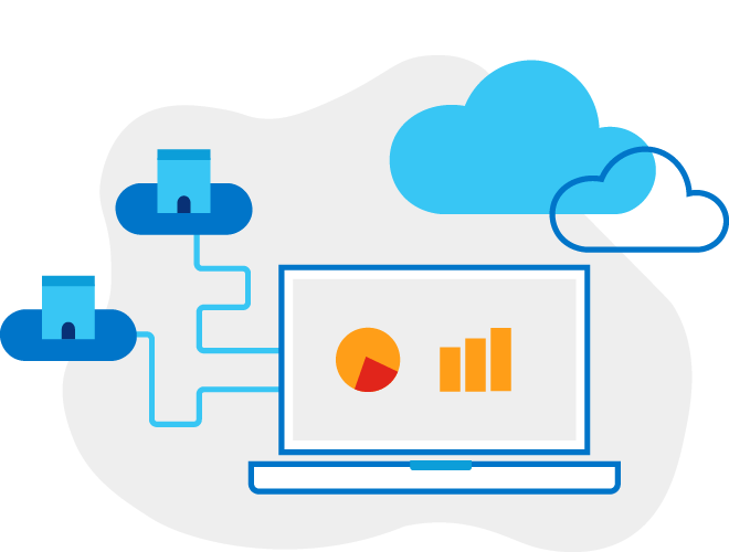 Illustration of a laptop with lines connecting to two building icons in front of two clouds