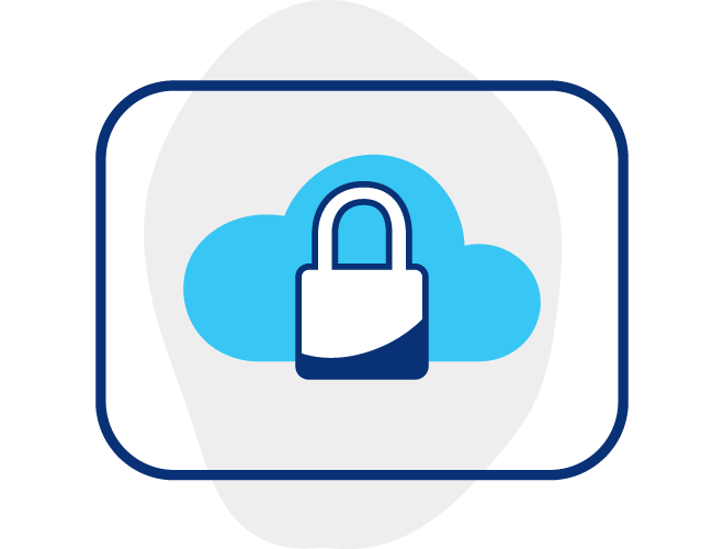 Illustration of a lock icon in front of a cloud