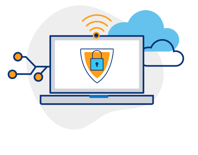 Illustration of a laptop screen with a lock icon with lines coming out of the side, wifi signal coming from the top and two clouds behind it