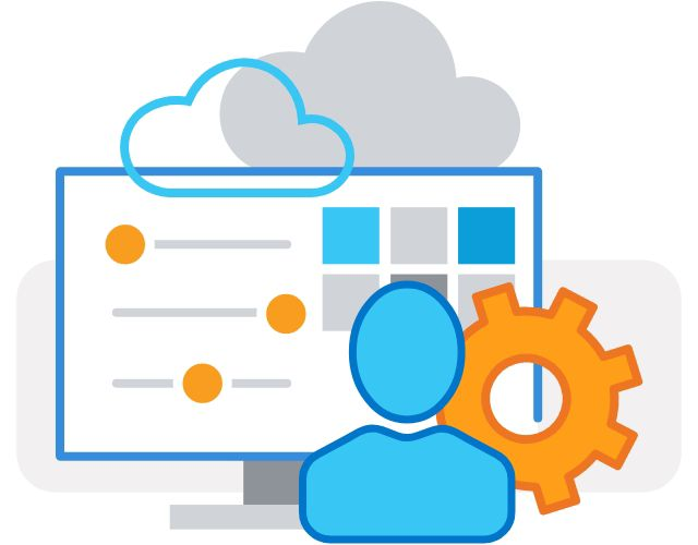 Illustration of a person and gear in front of computer monitor with clouds above it