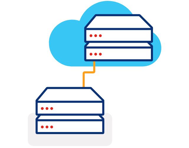Ilustración de dos servidores apilados en diagonal, con una línea que los conecta