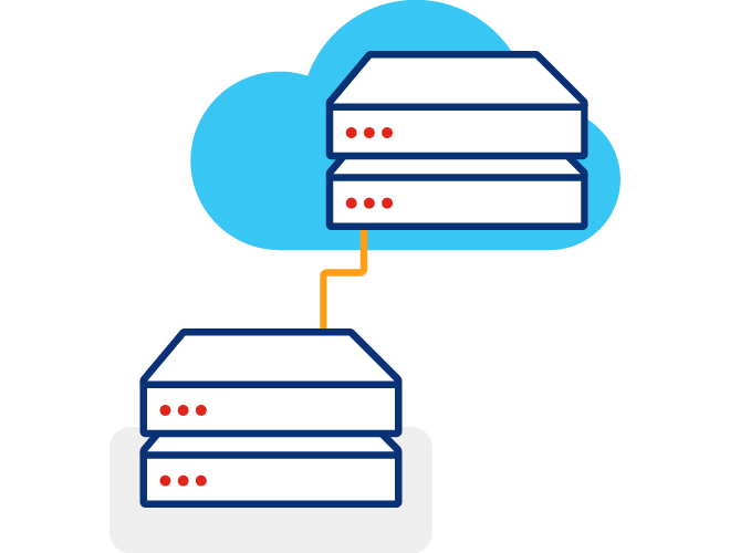 Illustration of two servers stacked diagonally with a line connecting them