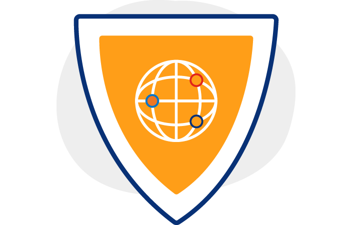 Illustration of an orange shield with a white globe icon on the front