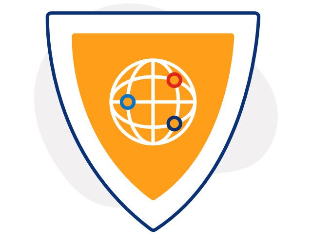 Ilustración de un escudo anaranjado con un icono de globo terráqueo blanco en el frente