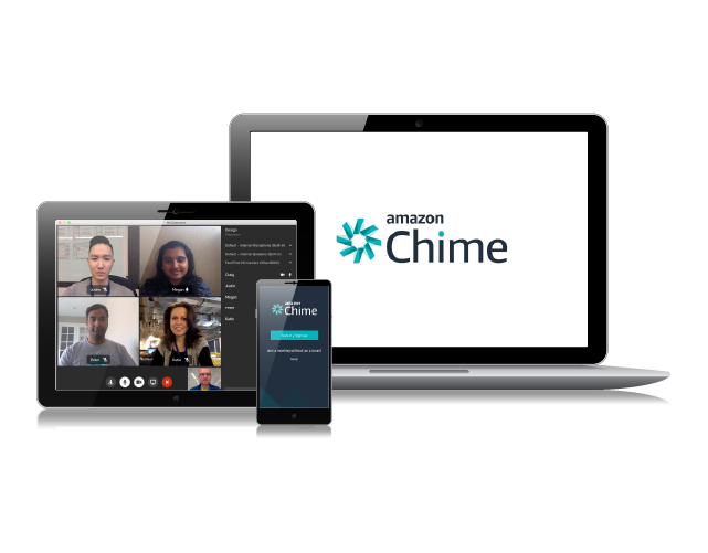 Phone screen, tablet screen and monitor screen showing either the Amazon Chime logo or images of meeting attendees.
