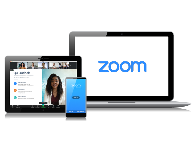 Phone screen, tablet screen and monitor screen showing either the Zoom logo or images of meeting attendees.