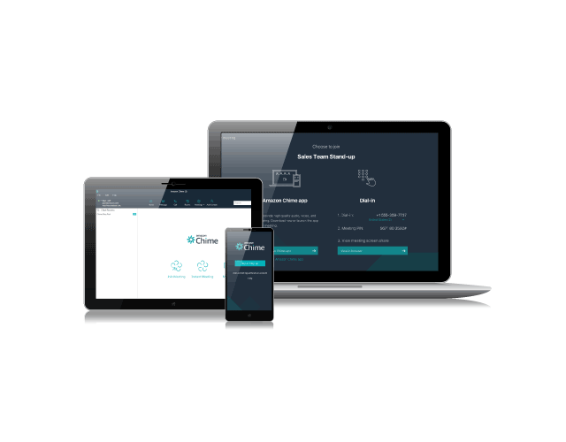 Iphone, tablet and laptop using the Chime platform across all devices