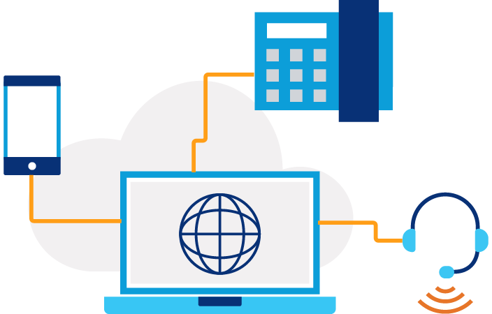Illustration of a laptop screen with a globe icon on it and three lines connecting a phone, headset and building icon