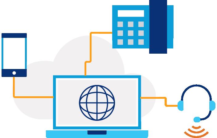 Ilustración de una pantalla de computadora portátil con un icono de globo terráqueo y tres líneas que conectan un teléfono, un par de auriculares y un icono de edificio